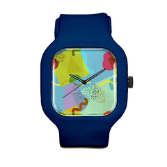 Neo-Memphis Fun Face Blue Sport Watch