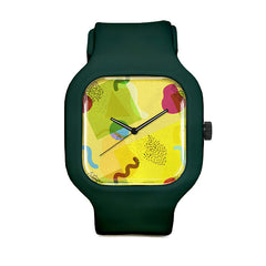 Neo-Memphis Fun Face Yellow Sport Watch