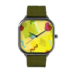 Neo-Memphis Fun Face Yellow Watch