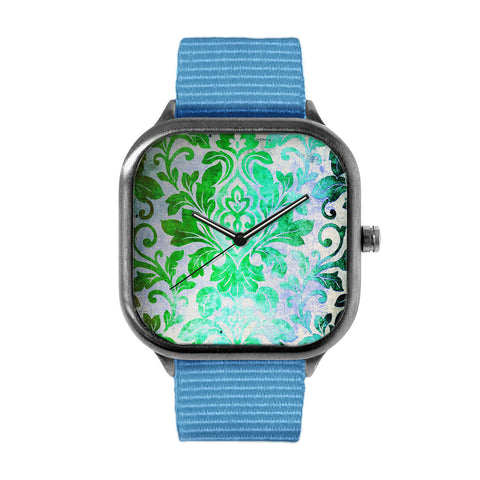 Green Damask Pattern Watch