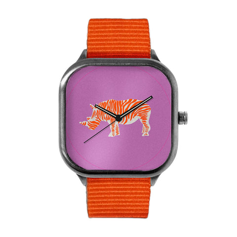 Orange Striped Rhino Watch