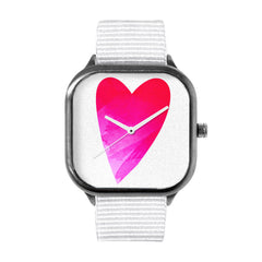 Heart In Hand Fuchsia White Watch