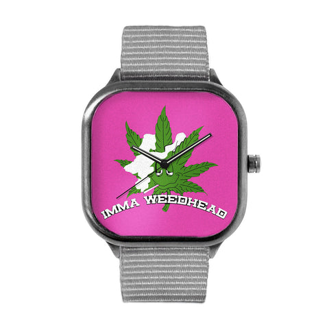 Imma Weedhead Pink Logo Alloy watch