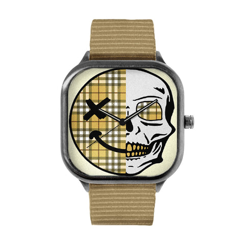 Yellow Checkered Skull Watch