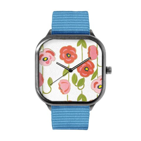 Pink Flowers Watch