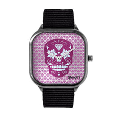 Stencil1 Sugar Skull Geometric Watch