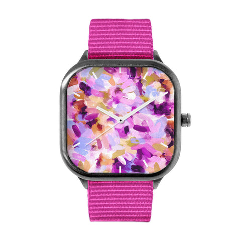 Lila Abstract Brushstrokes Watch