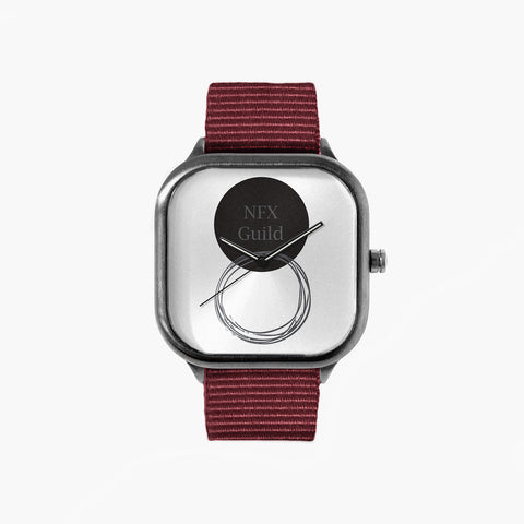 NFX Circles Watch with a Crimson Strap