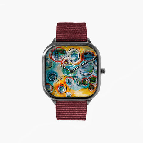 Jenn Ashton Raindrops Watch with a Crimson Strap
