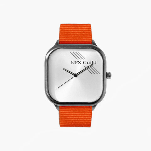 NFX Lines Watch with an Orange Strap