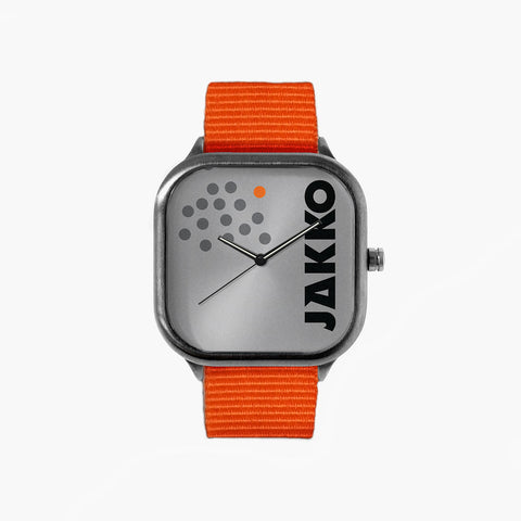 Jakko Grey Logo Watch with an Orange Strap