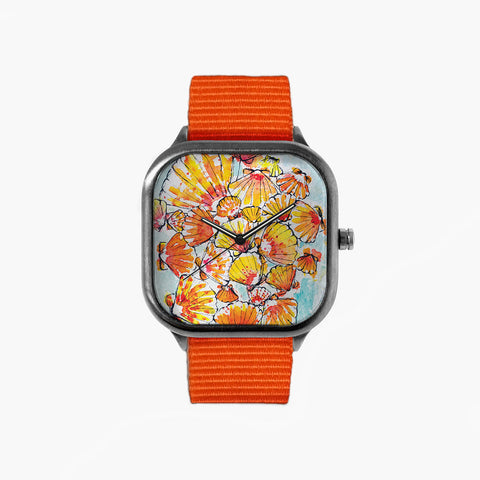 Sunrise Shells Watch with an Orange Strap