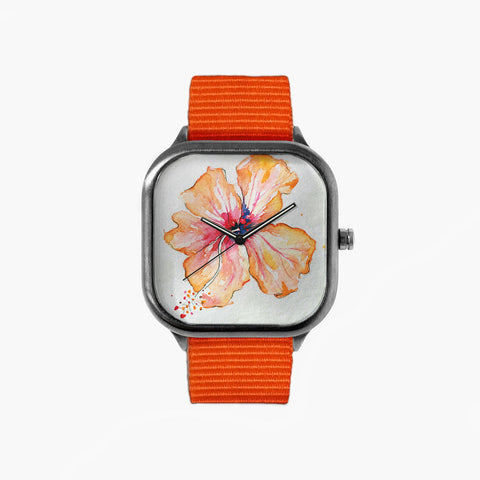 Moorea Hibiscus Watch with an Orange Strap