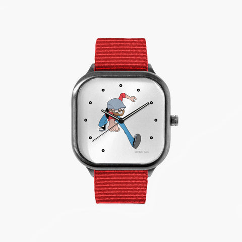 Running Around Watch with a Red Strap