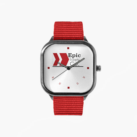 Epic Supply Logo Watch with a Red Strap