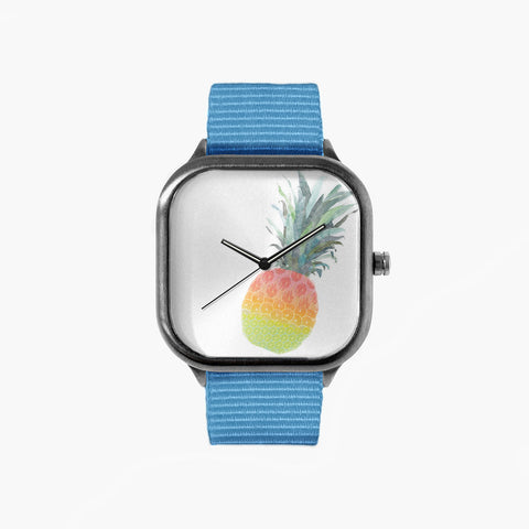 Rainbow Fruit Pineapple Watch with a Sky Blue Strap
