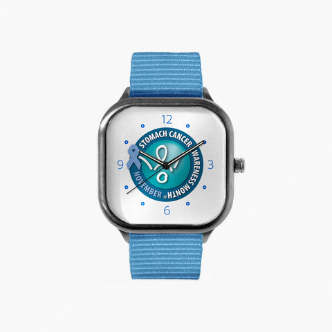No Stomach For Cancer Stomach Cancer Awareness Month Watch with a Sky Blue Strap