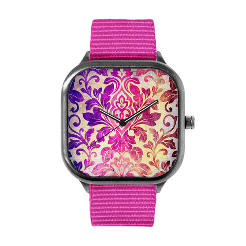 Purple Damask Pattern Watch
