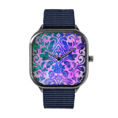 Blue Damask Pattern Watch