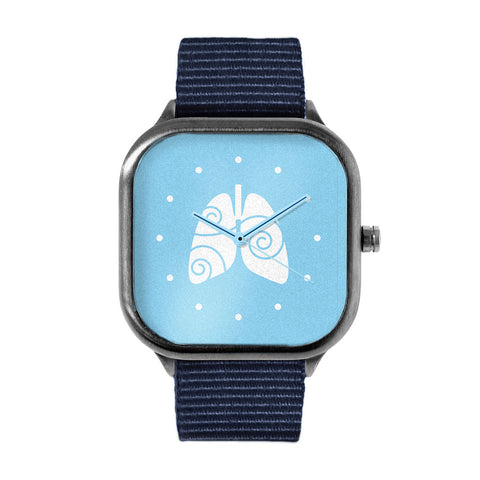 Free to Breathe Lungs Light Blue Watch