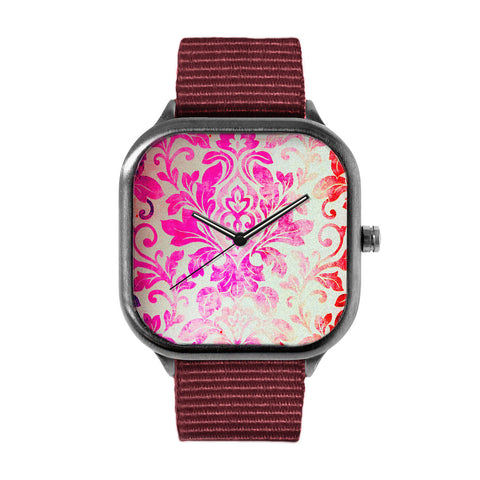 Pink Damask Pattern Watch