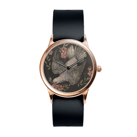 Dove and Flowers Rose Watch