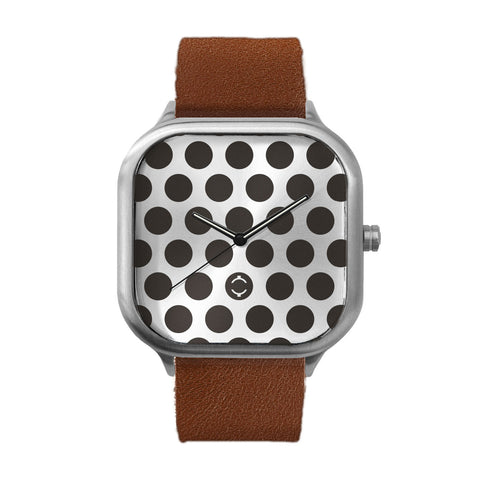 Black Polka Dot Stainless Steel Watch