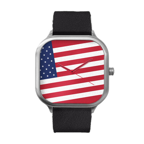American Flag Stainless Steel Watch
