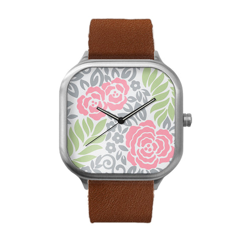 Floral Print Stainless Steel Watch