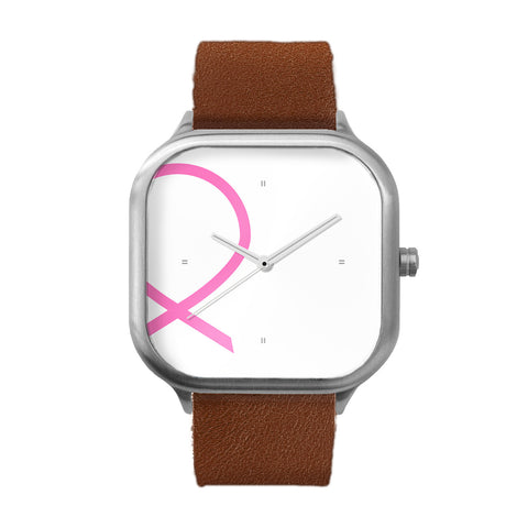 Breast Cancer Awareness Ribbon Stainless Steel Watch