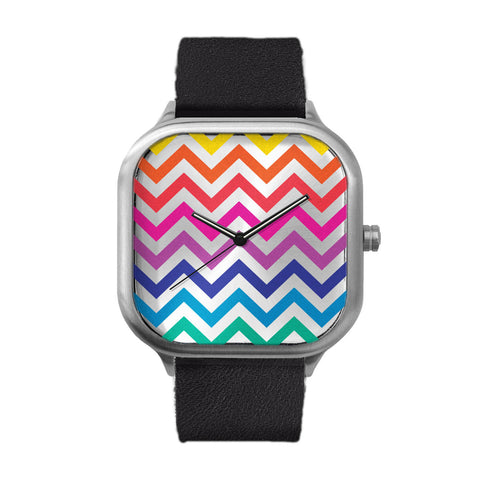 Rainbow Chevron Stainless Steel Watch