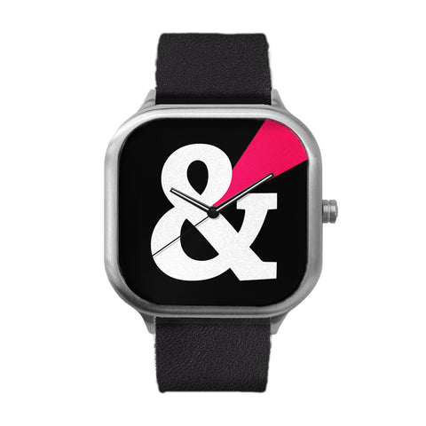 Black Ampersand Stainless Steel Watch