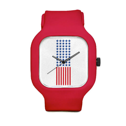 American Flag Watch with Red Strap