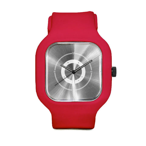 Silver Circles Watch with Red Strap