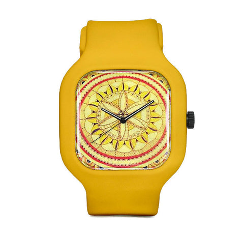 Yellow Fine Mandala Sport Watch
