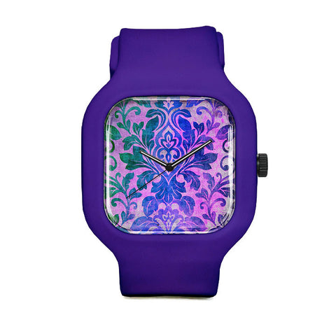 Blue Damask Pattern Sport Watch