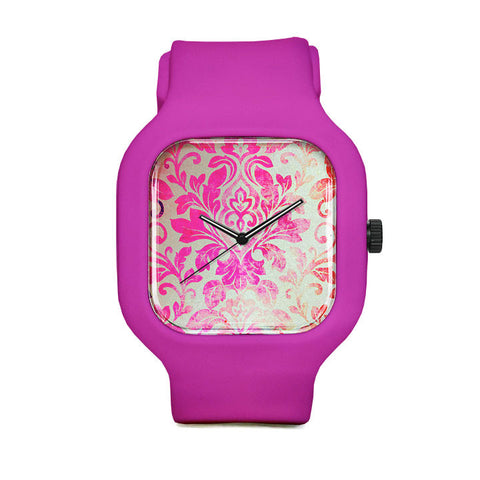 Pink Damask Pattern Sport Watch