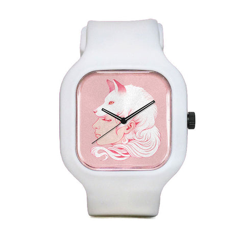 Sze Jones Pink Wolf Girl Sport Watch
