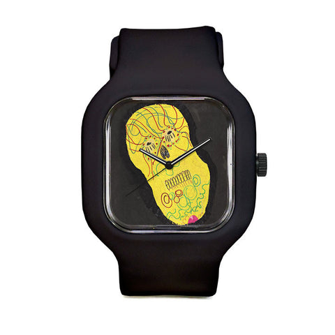 Yellow Skull by Sara O Sullivan Sport Watch