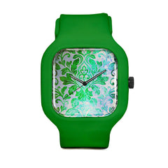 Green Damask Pattern Sport Watch