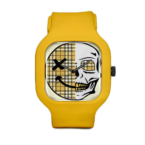 Yellow Checkered Skull Sport Watch
