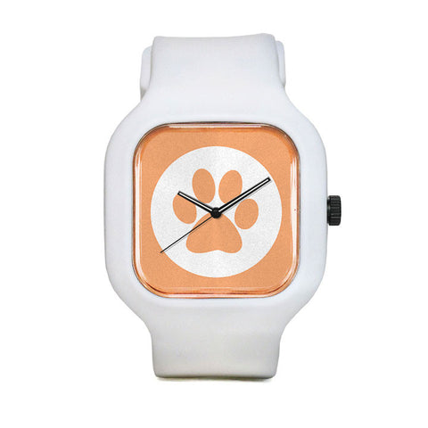 Peach Panther Paw Print Sport Watch