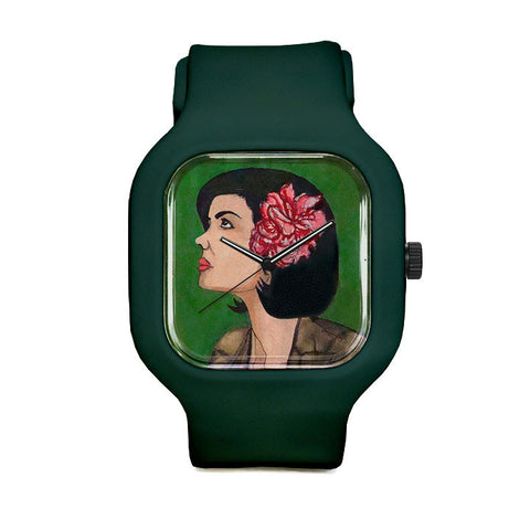 Girl With A Flower Sport Watch