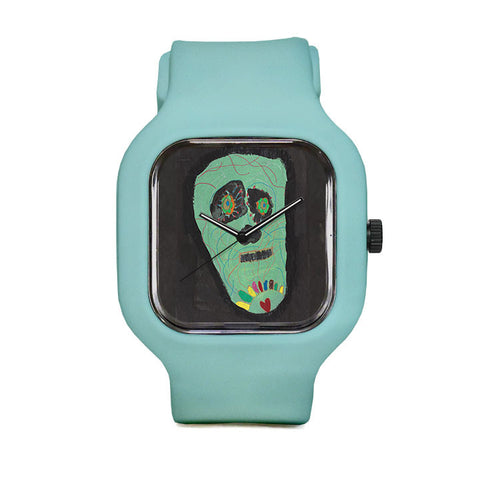 Green Skull by Sara O Sullivan Sport Watch