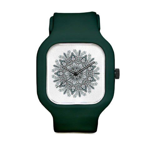 Green Flower Mandala Sport Watch