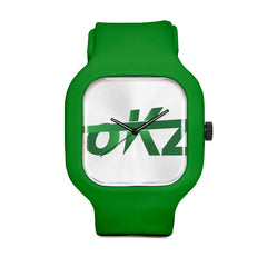okz Logo Green Sport Watch