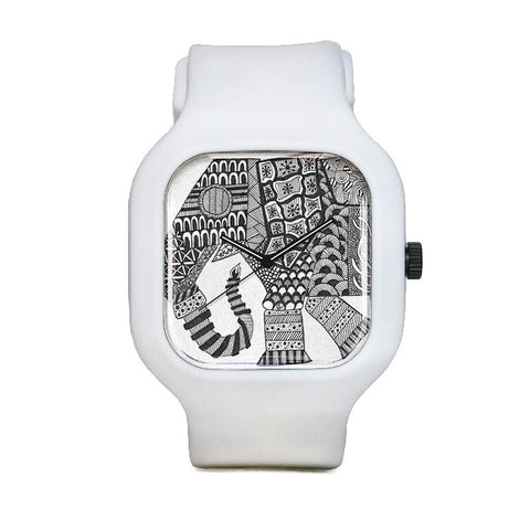 Patterned Elephant Sport Watch