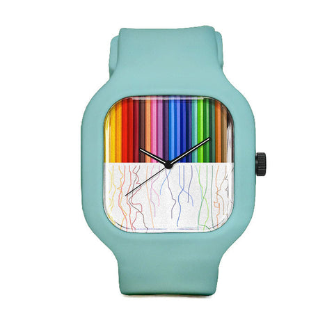 Colored Pencils Watch with Seafoam Strap