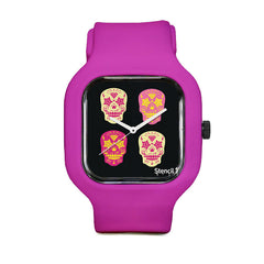 Stencil1 Candy Skulls Sport Watch