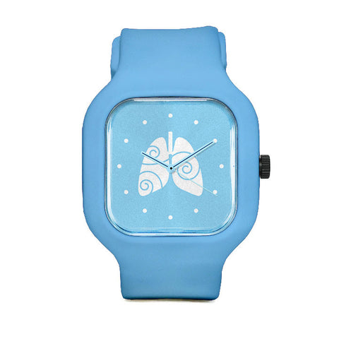 Free to Breathe Lungs Light Blue Sport Watch